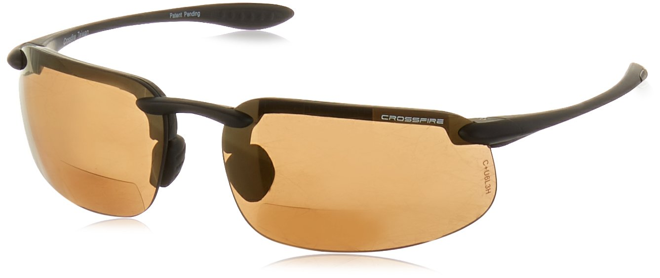 Crossfire Eyewear 216120 2.0 Diopter ES4 Safety Glasses with Black Frame and Bronze Lens