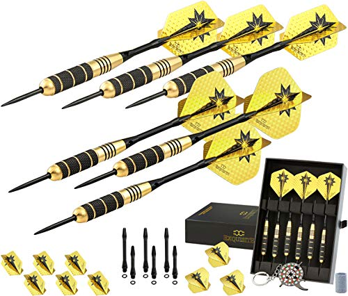 Professional Darts Set - Customizable Configuration 6 Steel Tip Darts 18/22g |12 Aluminum Shafts...