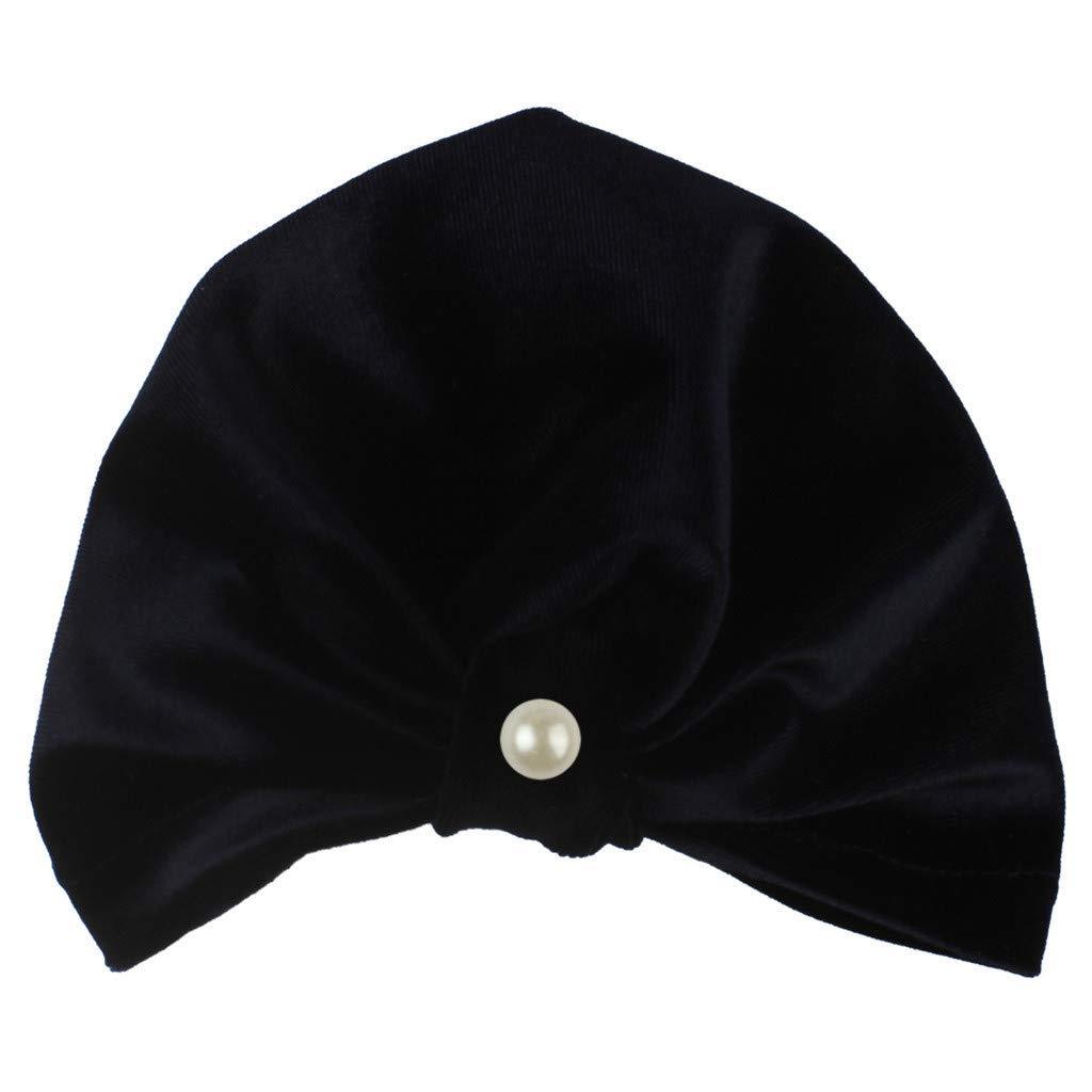 MALLOOM Newborn Baby Boy Girl Pearls Pleuche Knotted Hat Beanie Cap Headwear Navy