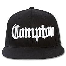 Compton Flat Bill Snapback Black Adjustable Baseball Cap