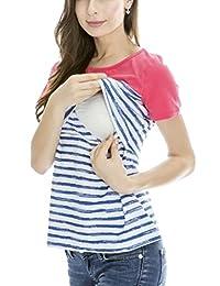 Women's Maternity Nursing Tops Striped Breastfeeding T-shirt