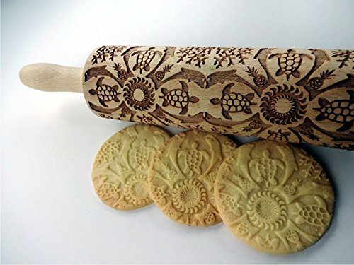Rolling pin HAWAII. Wooden embossing rolling pin with Hawaii pattern. Embossed cookies. Pottery. Birthday gift.