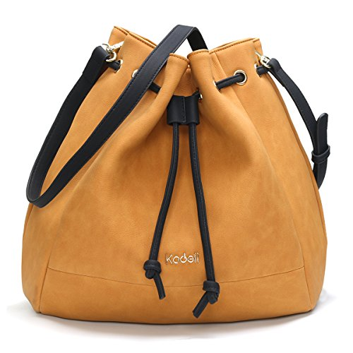 Leather Drawstring Purse - Kadell Women's Drawstring Bucket Bag Vintage PU Leather Shoulder Bag Handbags Purse for Ladies Yellow