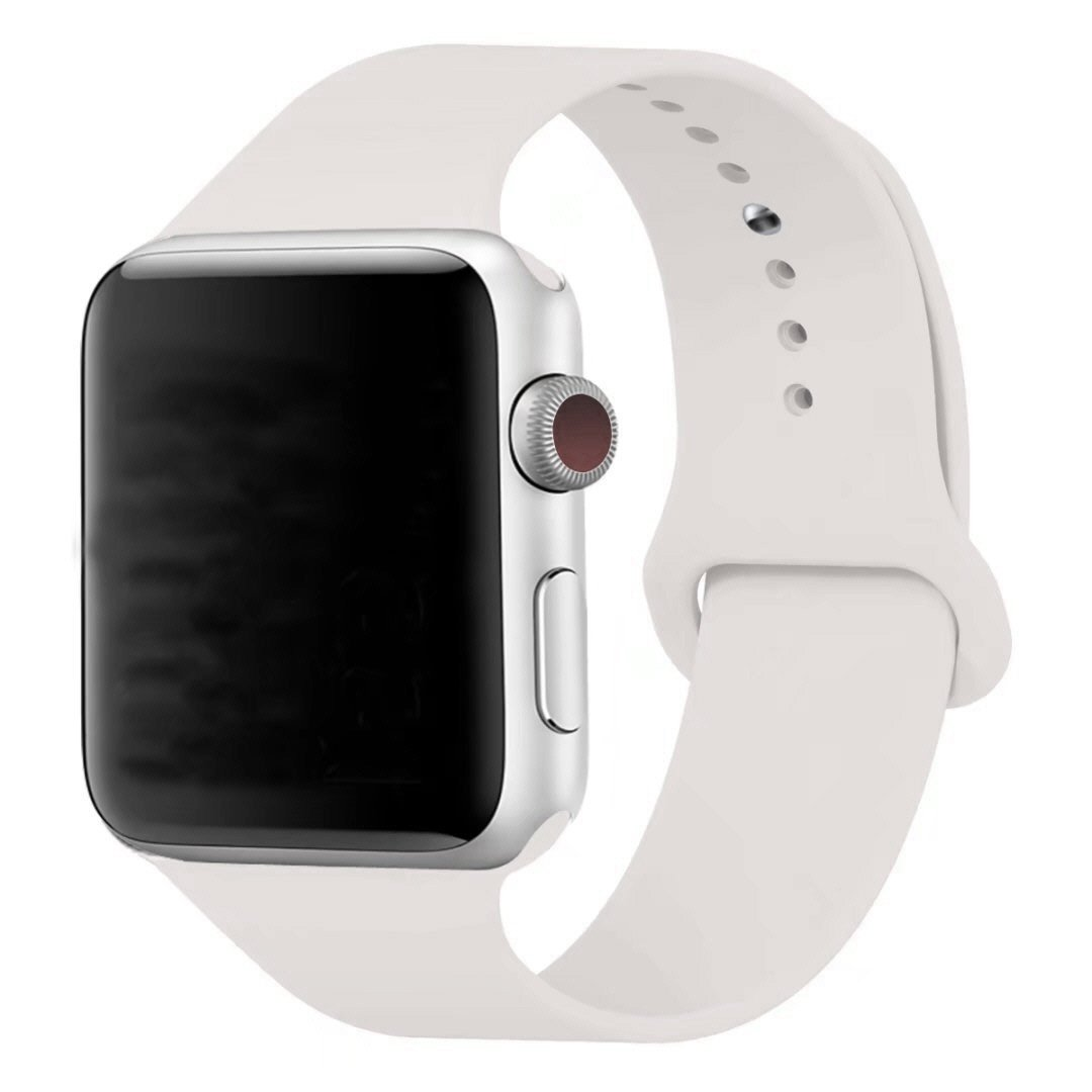 MOTEEV Band for 38mm Apple Watch,Soft Silicone Sport Band [3 Pieces for 2 Lengths] Large/Small Wrist Strap Replacement for Apple Watch 1 2 3 All Models 38mm - Soft White