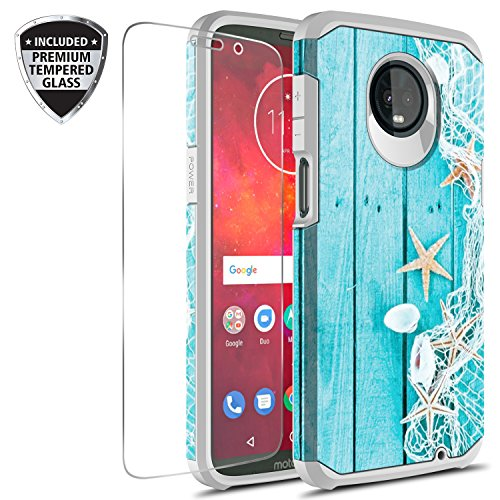 Moto Z3 Play Case With Tempered Glass Screen Protector, Rosebono Slim Hybrid Dual Layer Graphic Fashion Colorful Cover Armor Case for Motorola Moto Z Play 3rd Generation (Starfish)