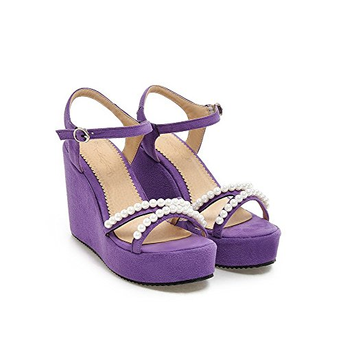AmoonyFashion Womens Buckle Open-Toe High-Heels Imitated Suede Solid Sandals Purple OAACElqt