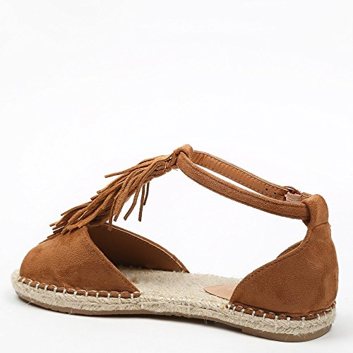 Ideal Shoes Sandale mit Zehenöffnung und Fransen Effekt Wildleder Vera Camel