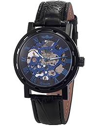 AMPM24 Fashion Mechanical Analog Skeleton Blue Dial Men's Sport Leather Wrist Watch PMW030
