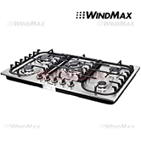 WindMax® 34 Fashion Lines Stainless Steel 5 Burner Built-In Stoves Gas Cooktops Cooker