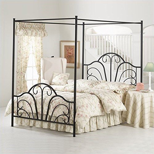 Hillsdale Furniture 348BKPR Hillsdale Dover King Canopy Bed Textured Black