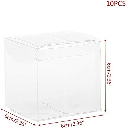 Yintiod 10 Piezas Transparente PVC plástico Cubos Pasteles Bodas Gunsten Regalo Dulces Cajas Party Bolsillo: Amazon.es: Hogar