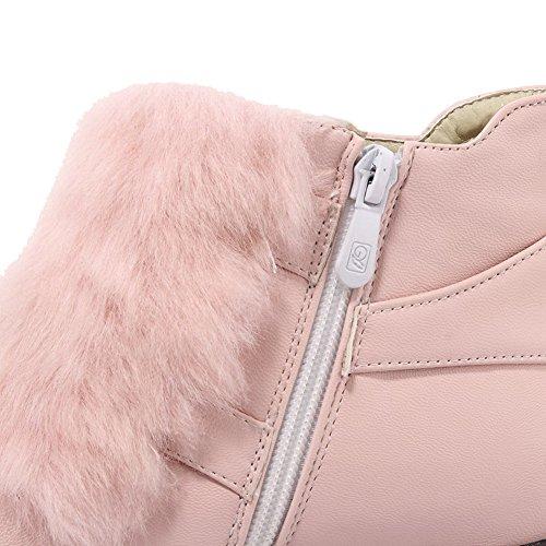 AgooLar Damen Rein Mittler Absatz Rund Zehe Reißverschluss Stiefel mit Schnalle Pink