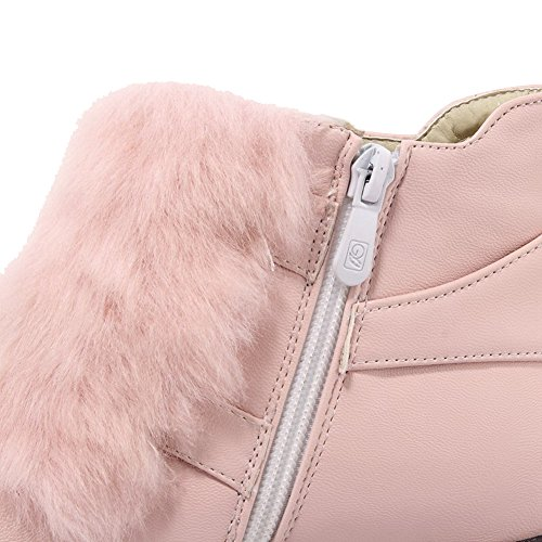 AllhqFashion Mujer Material Suave Puntera Redonda Tacón Medio Cremallera Sólido Botas Rosa