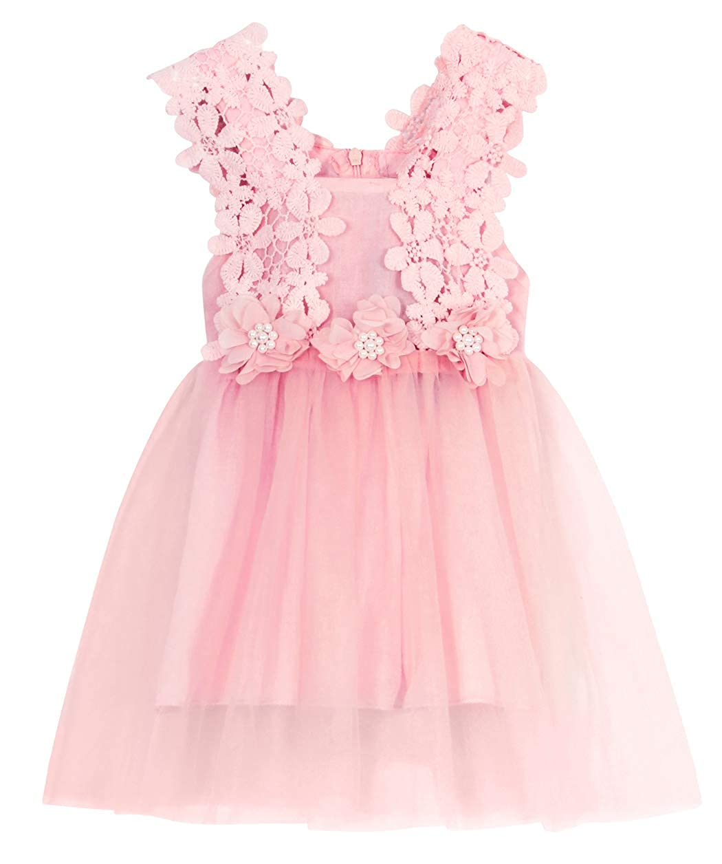 MetCuento Baby Flower Girl Dresses Lace Wedding Birthday Party Toddler Formal Dress Pink 3-4 Years