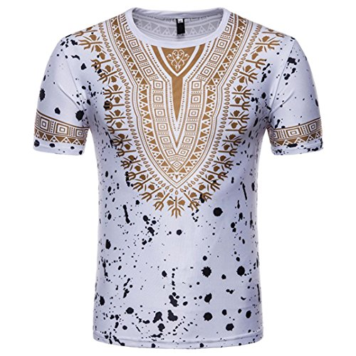 Men's Blouse, Limsea Casual African Print O Neck Pullover Long Sleeved T-Shirt Top (Glitter Flag Charm)
