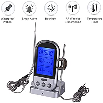 Meat Thermometer,Valoin Wireless Remote Digital Smoker Thermometer with Stainless Steel Dual Probes for BBQ Grill Smoker and Kitchen (Silver 1)