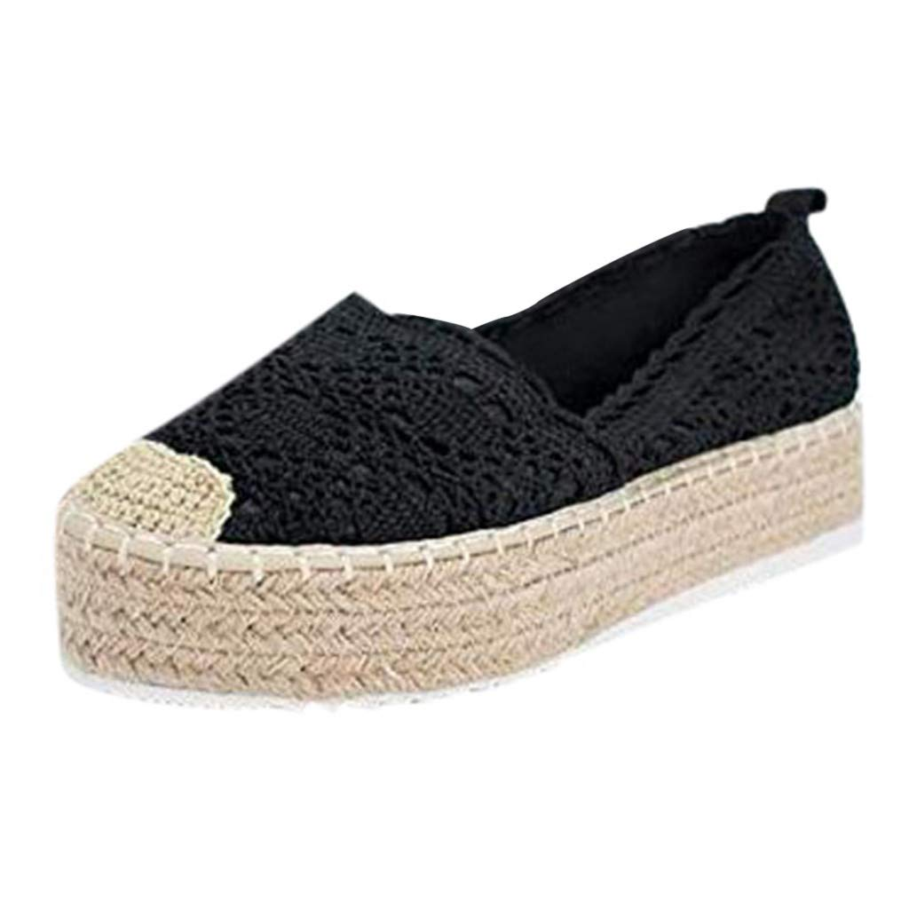 Sunhusing Womens Cutout Hemp Woven Wedge Platform Casual Sandals Hook Flower Round Toe Breathable Espadrilles Shoes Black by Sunhusing