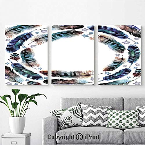 Wall Art Decor 3 Pcs High Definition Printing Spiral Vortex Concentric Ethnic Feather with Curved Little Stars Image Painting Home Decoration Living Room Bedroom Background,16