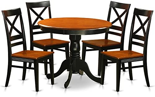 ANQU5-BLK-W Dining set – 5 Pcs with 4 Wood Chairs