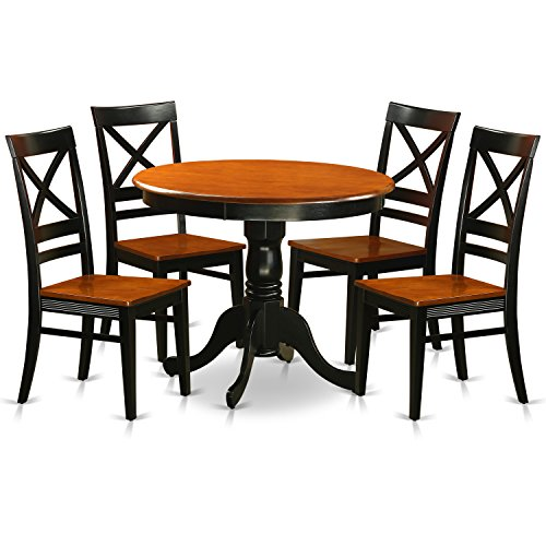 East West Furniture ANQU5-BLK-W 5 Piece with 4 Solid Wood Chairs Antique Dining Set