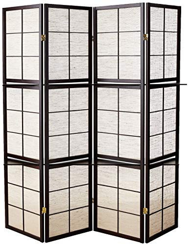 Coaster Home Furnishings 4-Panel Screen with 4-Shelf Tan and - Screen Panel Four