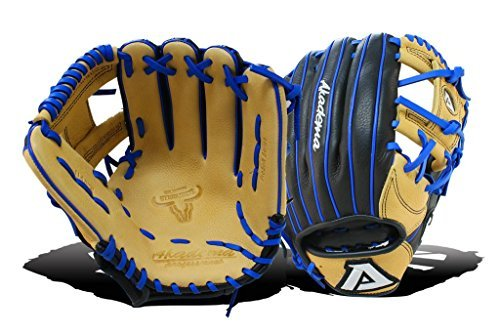 Akadema Prosoft Elite Series Baseball Infielders Gloves, Black/Sandstone/Royal, Left - Akadema Baseball Glove
