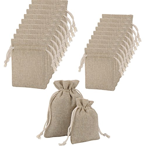 20 Pieces Burlap Gift Bags with Double Drawstring