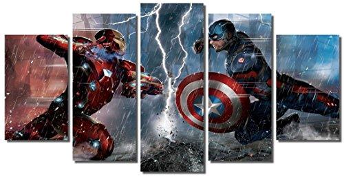 Picture Sensations Framed Canvas Art Print, Captain America Civil War Vs Iron Man - 60