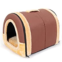 PAWZ Road 2-in-1 Pet house and Sofa Non-Slip Dog Cat Igloo Beds 3-Size Brown M