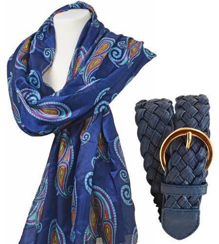 T-shirt moderne de soie foulard damenschal modèle wIEN écharpe bleu marine design en kit avec flechtgürtel bleu foncé