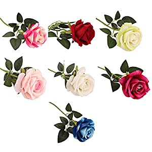 Rm.Baby 1Pcs Artificial Fake Flowers Rose Floral Real Touch Looking Silk Cloth Material for Party Wedding Decor, Garden Craft Art,Office Centerpiece Home Decor(Vase not Included 91