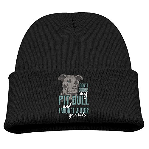 Kid Dont Judge My Pit Bull Beanie Winter Hats Hipster Beanie (Card Snow Pit)