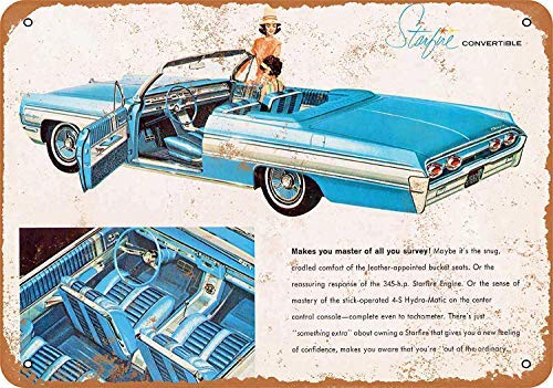 Oldsmobile Starfire Convertible Retro Vintage Metal Signs Wall Art Metal Tin Sign Plaque for Man Cave Grage Farmhouse Decor 8