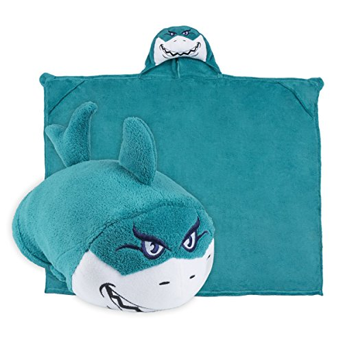 Comfy Critters Kids Huggable Hooded Blanket - Aqua Blue