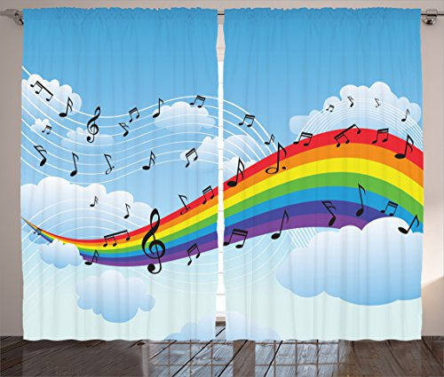 Ambesonne Music Decor Collection, Rainbow with Music Notes Cloudscape Cartoon Fun Artwork Symphony Sky Picture, Living Room Bedroom Curtain 2 Panels Set, 108 X 90 Inches, Blue Red Yellow Orange