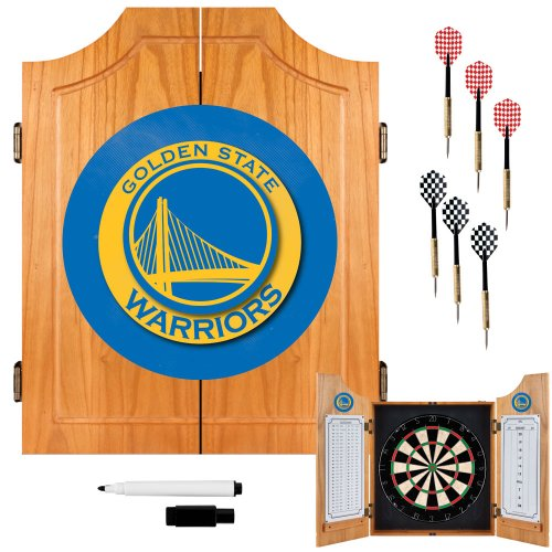 NBA Golden State Warriors Wood Dart Cabinet Set by Trademark Gameroom