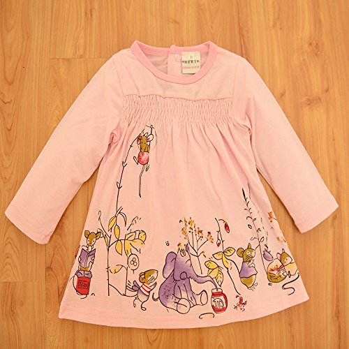 Ferenyi Baby Girls Summer Clothes Cartoon Long-sleeved Dress With Pants Sets (4-10 months, Pink)
