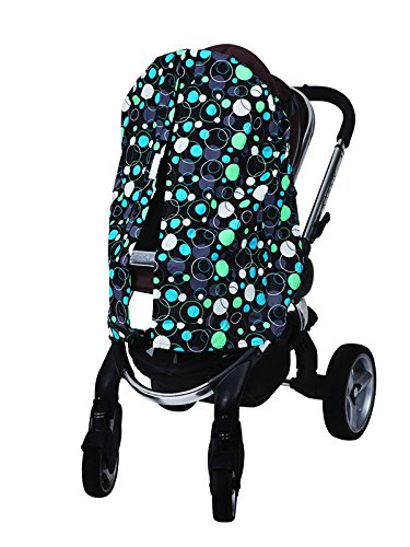 Bambella Designs Stroller Privacy Curtain - Blue Circles by BayB Brand
