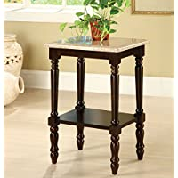 Metro Shop Furniture of America Arboreta Classic Marble Rectangular Top Side Table-Dark Cherry