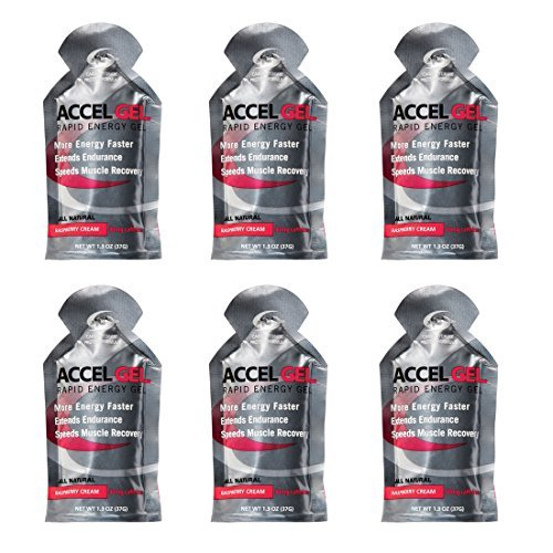 Accel Gel Rapid Energy Gel - Raspberry Cream - 6 Pack (6 x 1.3oz Packs)