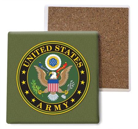 (sjt96801 ) United States Army吸収性ストーンコースター、4インチ(4 -パック)   B078HL5GK8