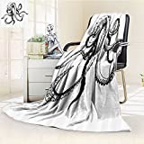Octopus Custom Blanket by Nalohomeqq Smiling Shy Octopus Posing Restaurant Comic Fun Doodle Art Illustration Print Accessories Extralong Black White