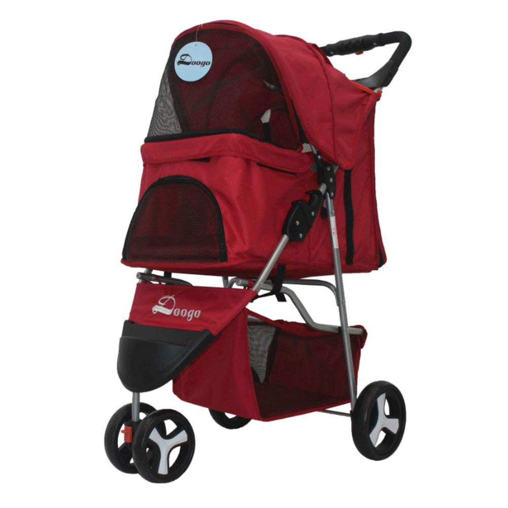 Red One-Handed Folding Three-Wheeled pet Stroller Dog cart