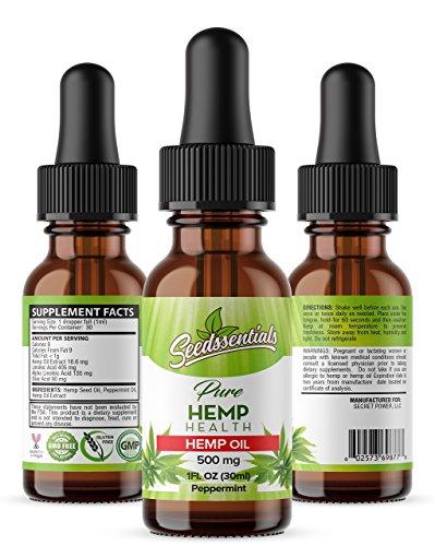 Pure Hemp Oil Extract Drops: 500 mg Cold Pressed Organic Leaf & Seed Herbal Oils Supplement for Daily Use - Anti Anxiety, Stress Relief, Pain Management & Skin Health - Peppermint Flavored - 1 fl. oz. by Seedssentials
