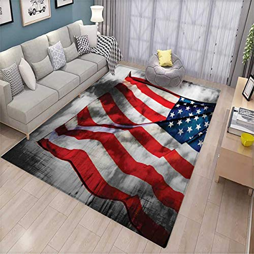 American Flag Floor Mat for Kids Banner in The Sky on Cloudy