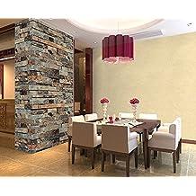 "Vintage Brick Wall Wallpaper / Embossed Textured Bricks 4 Color For Choose QH Wallpaper0.53m(20.8"")*10m(32.8')=5.3(57sqfeet) (Cyan-Blue)"