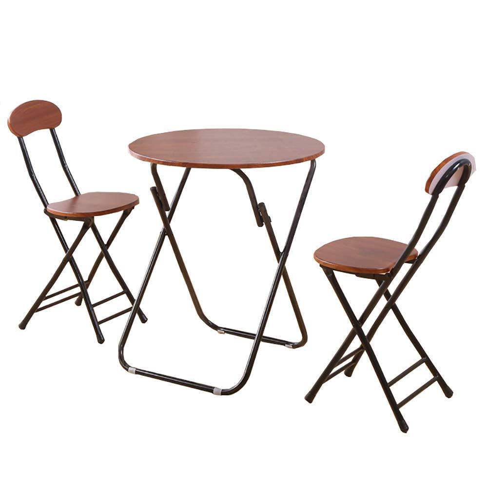 YXX- Tavolo da Pranzo Pieghevole da Cucina rossoondo Set di 3 Tavolo da Giardino in Legno Marronee caffè E tè E Scrivania da Computer, (1 Tavolo + 2 Sedie) (Dimensioni   80x80x71cm)
