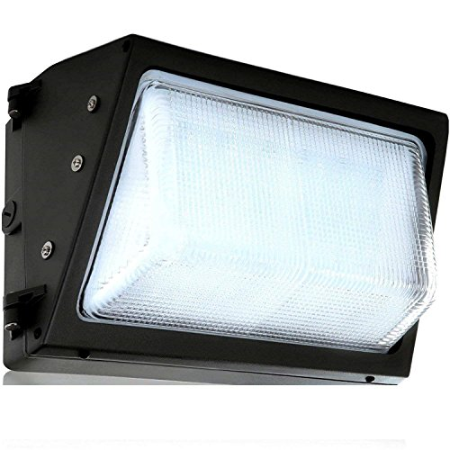 LED Wall-Pack Photo Cell Glass Lens- 60W 5000K Commercial Outdoor Light Fixture (Out-Door Dusk to Dawn Sensor Security Porch Lighting For Industrial Out-Side Photocell)
