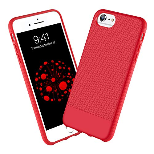 (GUAGUA iPhone 6 Case iPhone 6S Case for Women Girls Slim Fit Lightweight Soft Silicone Rubber Bumper Anti-Scratch Great Grip Cover Shockproof Protective Anti-Slip Phone Cases for iPhone 6S/6,Red)