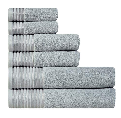 600 GSM Ultra Soft 100% Combed Cotton 6-piece Towel Set (Platinum Grey): 2 Bath towels, 2 Hand towels, 2 Washcloths, Long-staple Cotton, Spa Hotel Quality, Super Absorbent, Machine Washable (Ultra Spa)